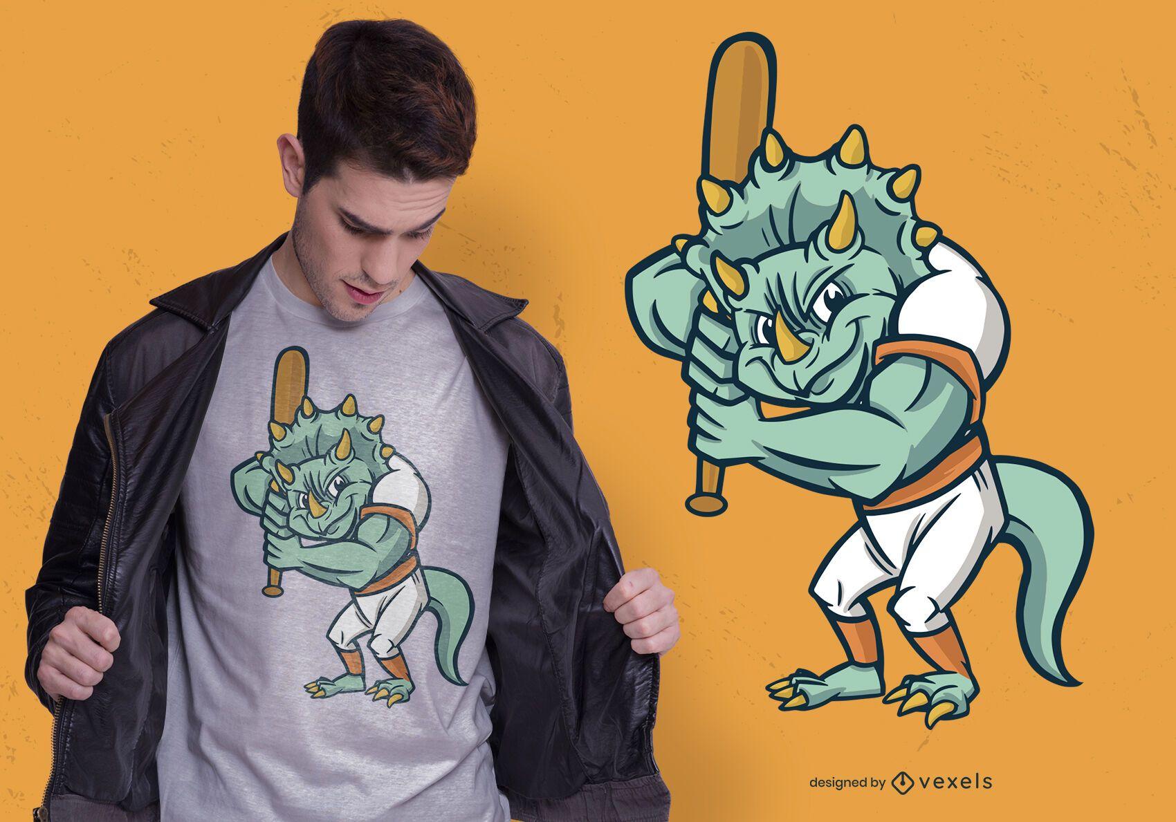 Dise?o de camiseta de dinosaurio de b?isbol.