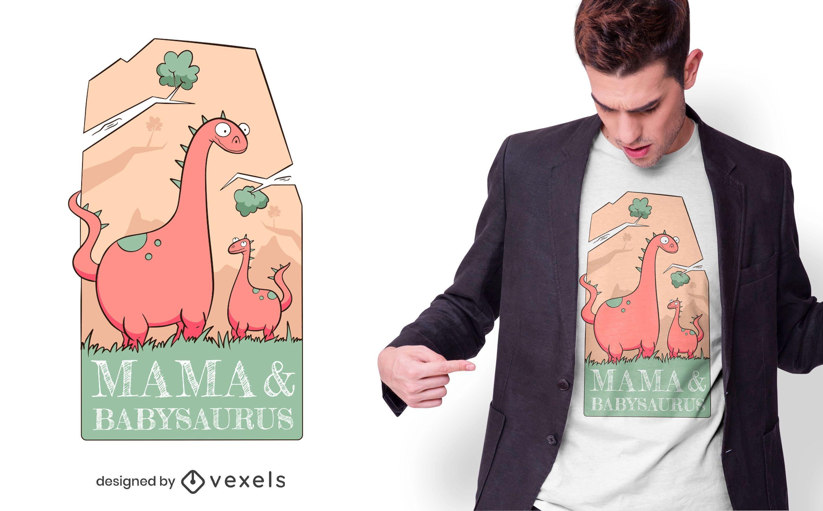 Diseño de camiseta de mamá y babysaurus.