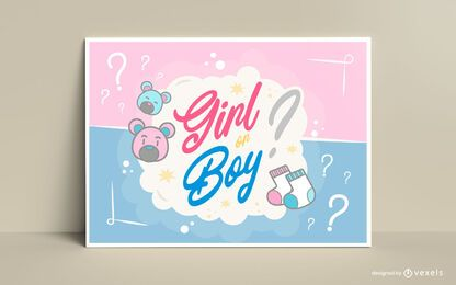 Diseño de tarjeta de letras de revelación de género