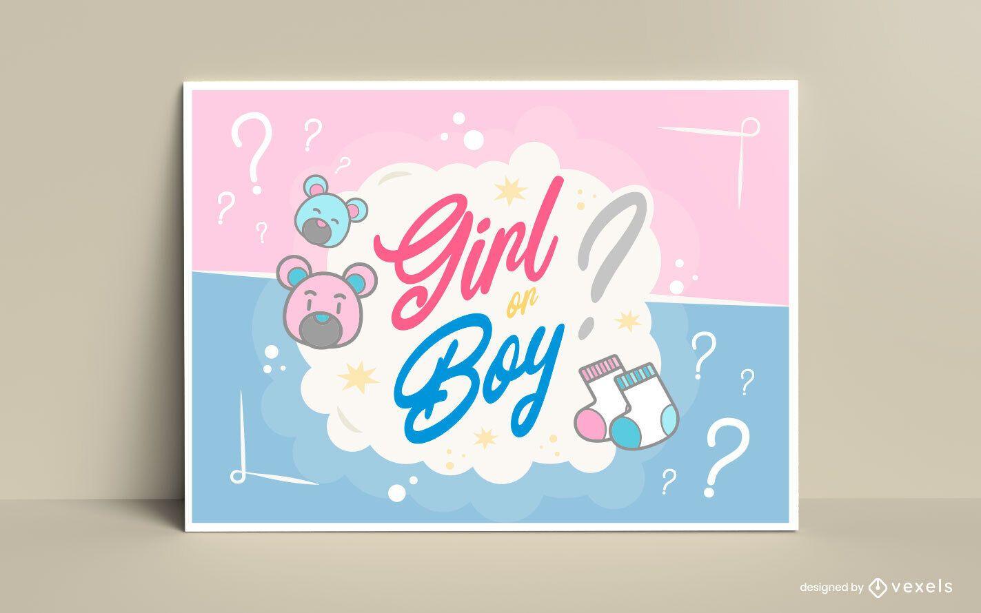 Gender Reveal Lettering Card Design