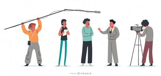 Reportage character illustration set