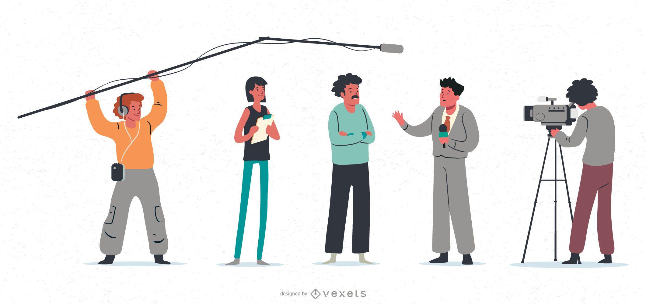 Conjunto de ilustración de personaje de reportaje