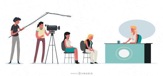 Conjunto de ilustración de personajes de televisión en vivo