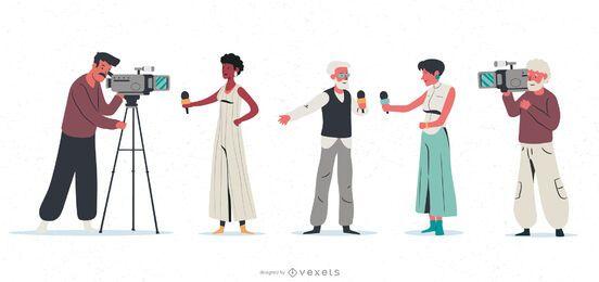 Conjunto de ilustración de personaje de periodista
