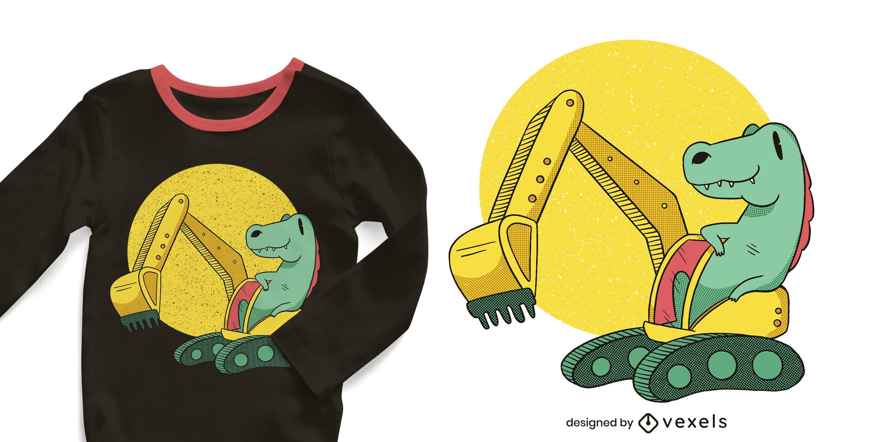 Design de camiseta de dinossauro de escavadeira