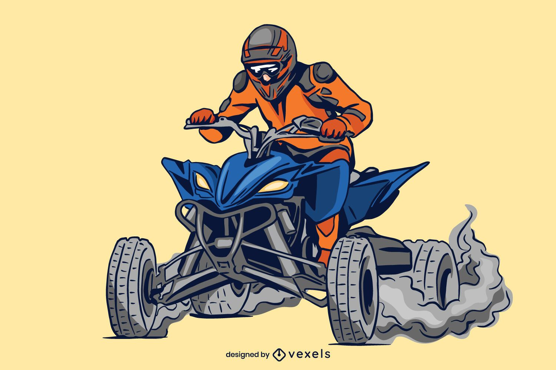 diseño de ilustración de quad biker