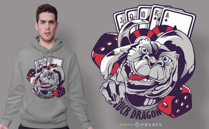 Design do t-shirt do dragão da sorte do casino