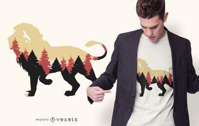 Design de t-shirt da floresta de leão