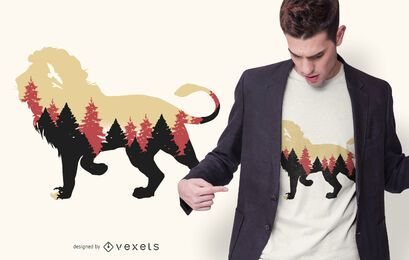 Diseño de camiseta de bosque de leones