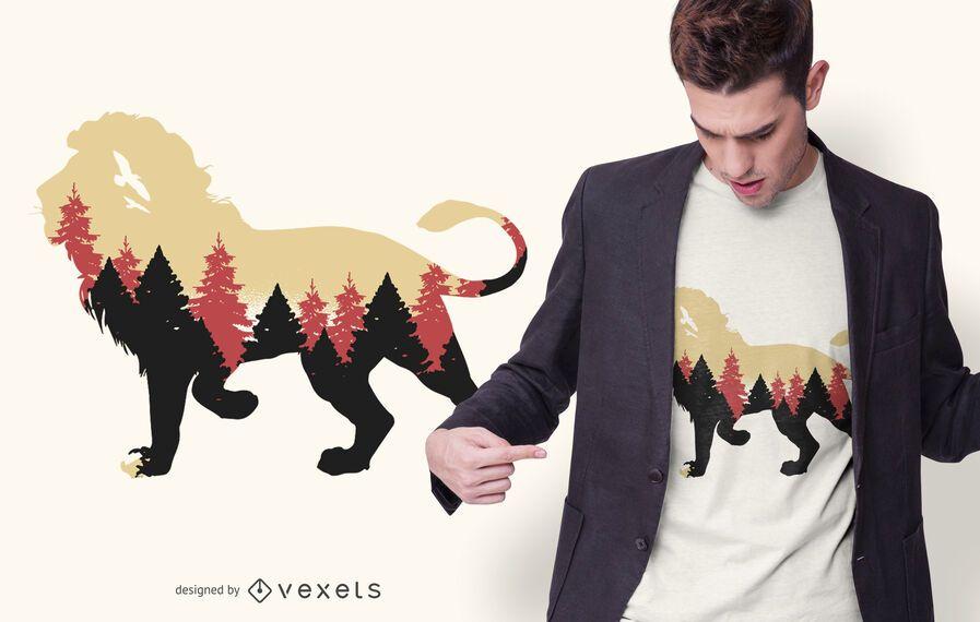 Lion forest t-shirt design