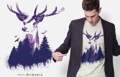 Diseño de camiseta de bosque de ciervos