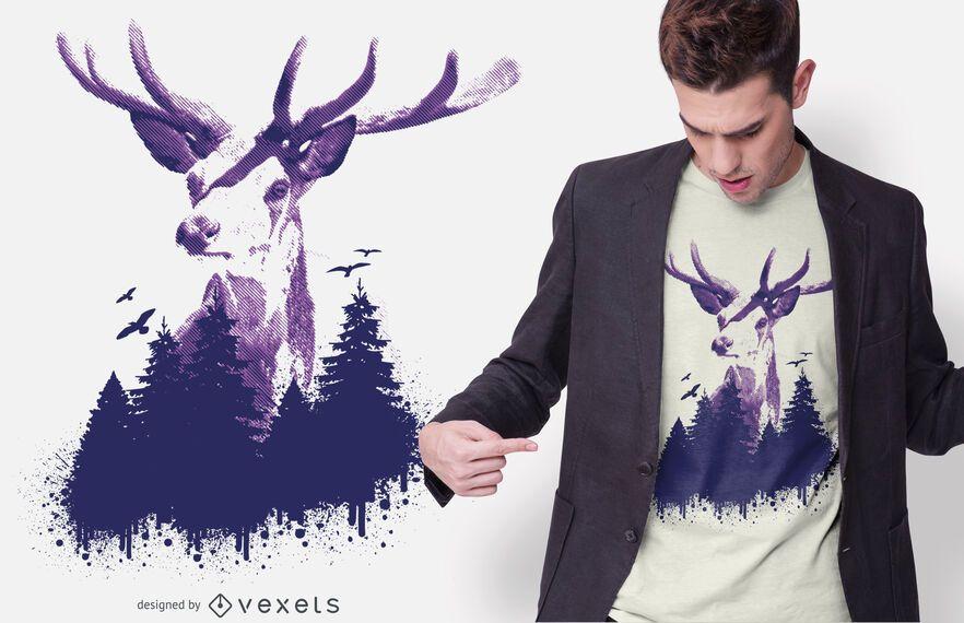 Design de t-shirt de floresta de veado