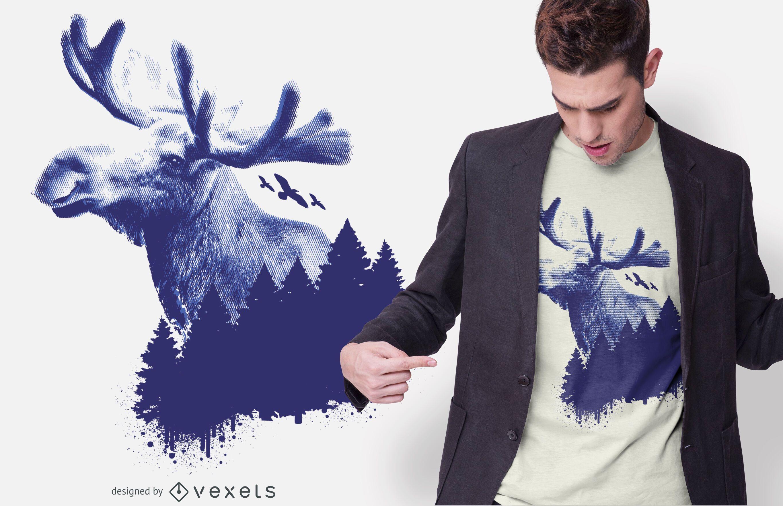 Diseño de camiseta de bosque de alces
