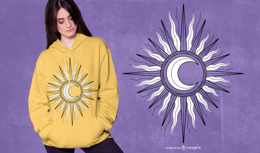 Design de t-shirt da lua do sol