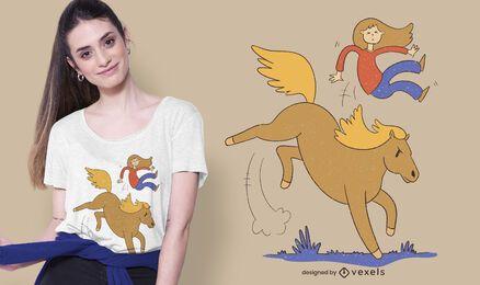 Garota caindo do design de t-shirt de cavalo