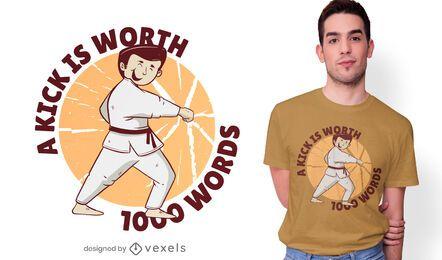Diseño de camiseta de karate kick