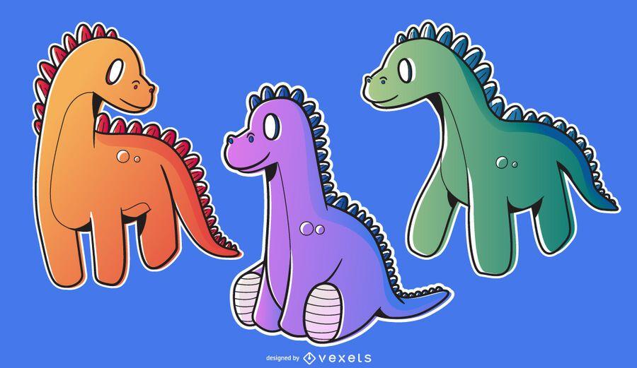 Colorful Dinosaur Illustration Pack