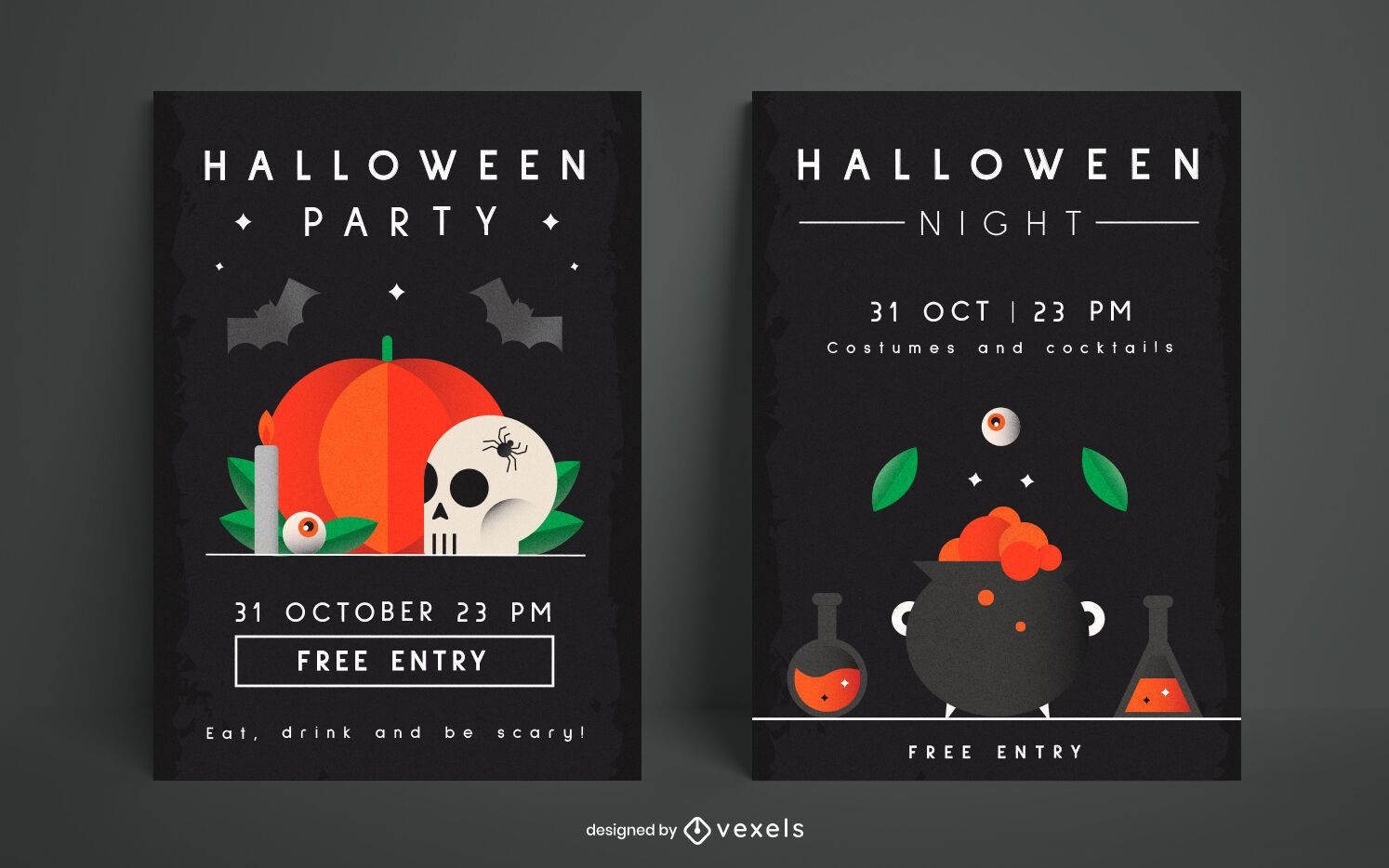 Halloween party poster template set