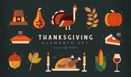 Thanksgiving elements illustration set