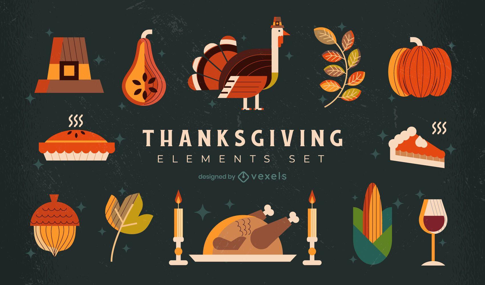 Thanksgiving-Elemente Illustrationssatz
