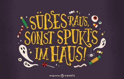 Süßes oder Saures deutscher Schriftzug