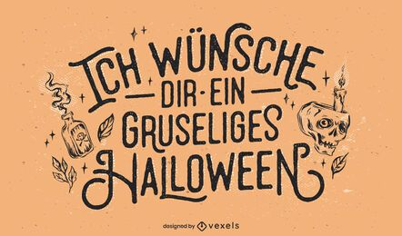 Letras alemãs de halloween assustador