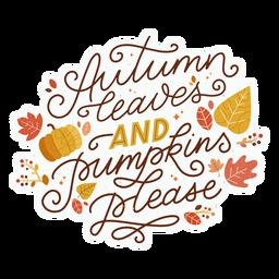 Herbstlaub Schriftzug