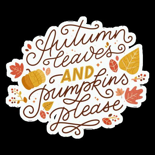 Autumn leaves lettering Transparent PNG