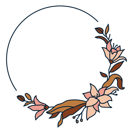 Circle floral frame Transparent PNG