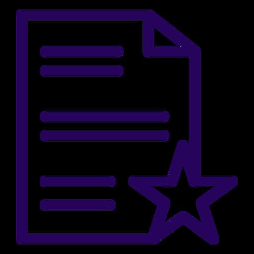 Icono de trazo favorito de documento