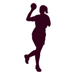 Female handball player people silhouette