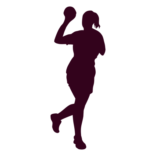 Female handball player people silhouette