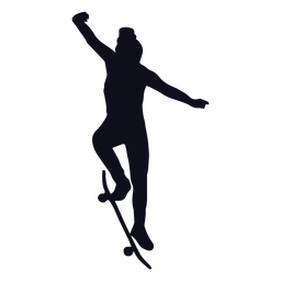 Female skater tricks silhouette
