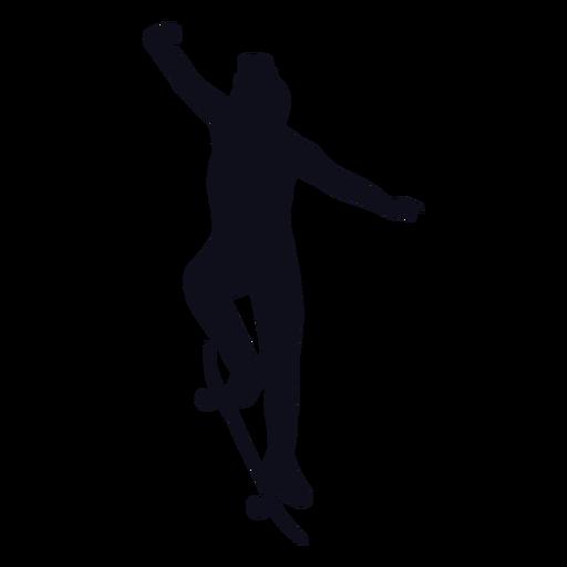 Female skater tricks silhouette