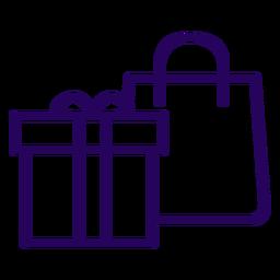 Icono de trazo de bolsa de regalo