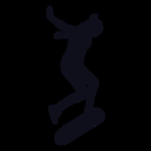 Silueta de trucos de niña patinadora