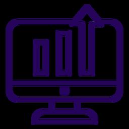 Icono de trazo de pantalla de gráfico creciente