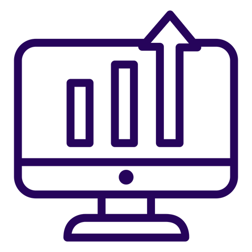 Growing graph screen stroke icon Transparent PNG