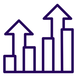 Growing graph stroke icon