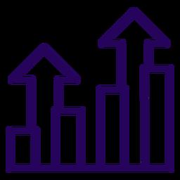 Icono de trazo de gráfico creciente
