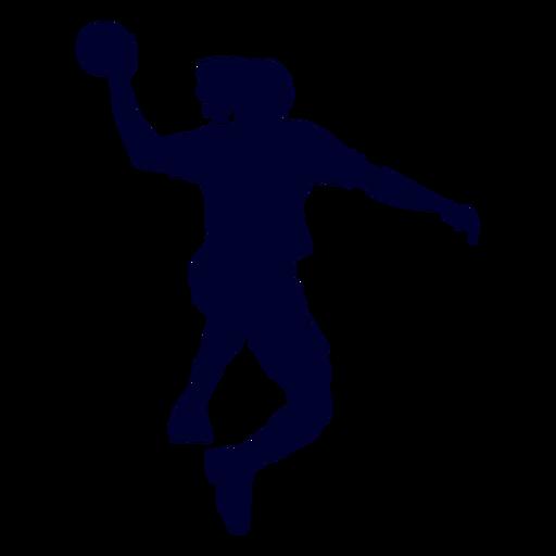 Chico jugando silueta de balonmano