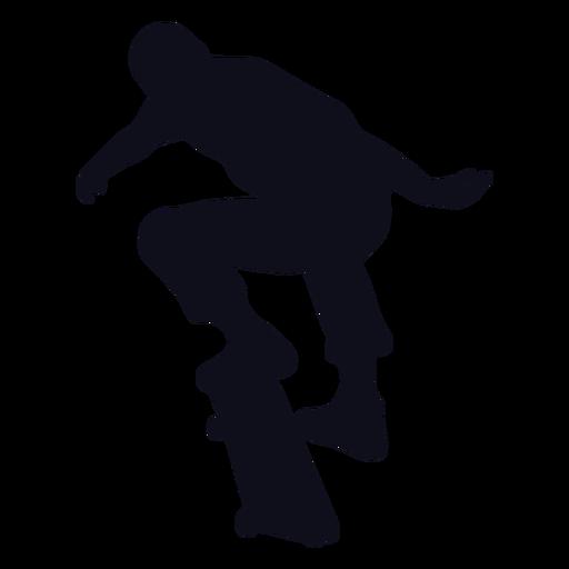 Silueta de trucos de chico skater