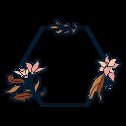 Quadro de quadro floral hexágono