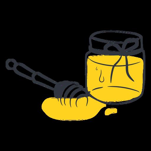 Tarro de miel miel dibujada a mano
