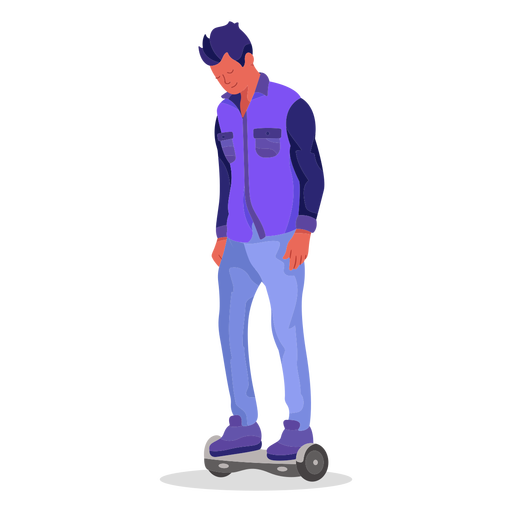 Carácter plano hoverboard Transparent PNG