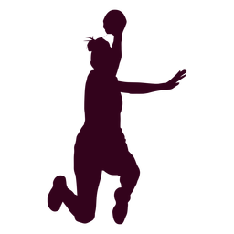 Jumping female handball player people silhouette