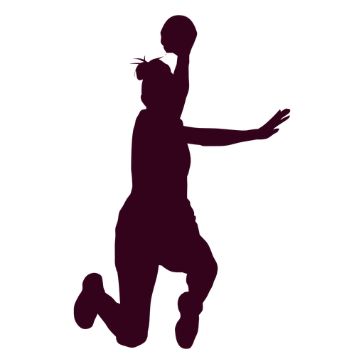 Jumping female handball player people silhouette