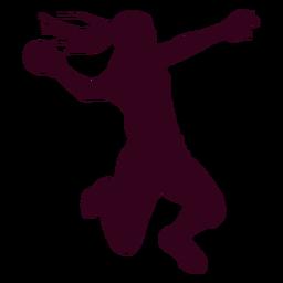 Saltar niña balonmano jugador personas silueta