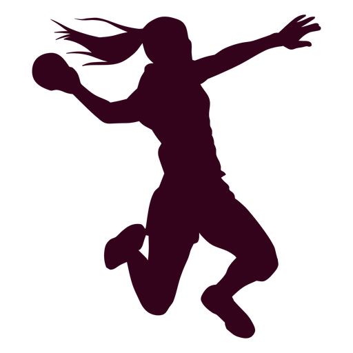 Jumping girl handball player people silhouette Transparent PNG