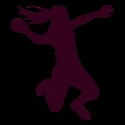 Jumping girl handball player people silhouette